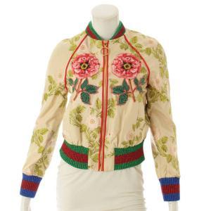 【グッチ】Gucci タイガー フラワー刺繍 ボンバージャケット 430486 クリーム 36 【中古】【正規品保証】106392|retrojp