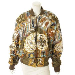 【エルメス】Hermes LE TAROT リバーシブル キルティング ジャケット ブルゾン カーキ 46 【中古】【正規品保証】108156|retrojp