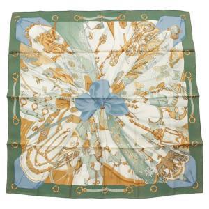 【エルメス】Hermes カレ90 シルク スカーフ Soleil de Soie シルクの太陽 グリーン 【中古】【正規品保証】108884|retrojp