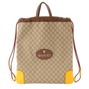 【グッチ】Gucci GGスプリーム ドローストリング タイガーヘッド ナップサック 473872 ブラウン 【中古】【正規品保証】109137|retrojp