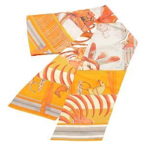 【エルメス】Hermes シルクスカーフ マキシツイリー Pani La Shar Pawnee BRIDES de GALA オレンジ 【中古】【正規品保証】111230|retrojp