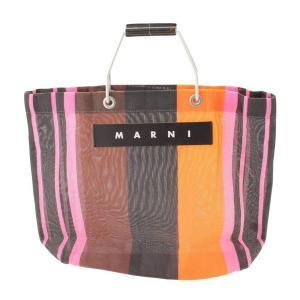 【マルニ】Marni フラワーカフェマーケット ストライプ ショッピング トートバッグ マルチカラー 【中古】【正規品保証】111604|retrojp