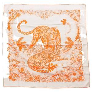 【エルメス】Hermes カレ90 シルク スカーフ JUNGLE LOVE ジャングルラブ ヒョウ オレンジ  【中古】【正規品保証】112215|retrojp