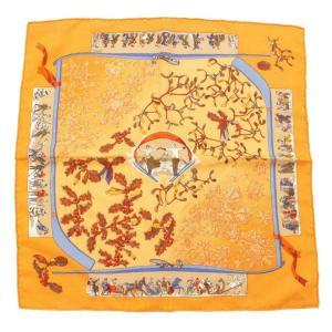 【エルメス】Hermes カレ45 カシミヤシルクスカーフ neige d'antan ソルド品 ブラウン オレンジ 【中古】【正規品保証】112229|retrojp