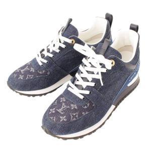 【ルイヴィトン】Louis Vuitton モノグラム デニム スニーカー GO0118 ブルー 39 【中古】【正規品保証】112557 retrojp