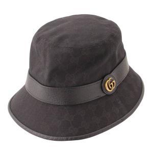 【グッチ】Gucci GGキャンバス フェドラハット 帽子 576587 4HG53 ブラック L 【中古】【正規品保証】114634 retrojp