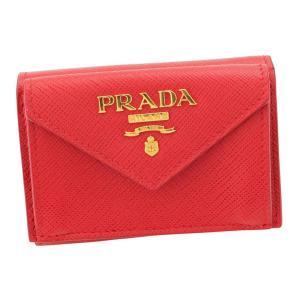 【プラダ】Prada サフィアーノレザー 折財布 1MH021 レッド 【中古】【正規品保証】115720|retrojp