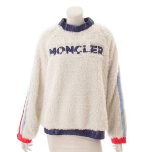 【モンクレール】Moncler 19AW MAGLIA ボア トップス ロゴ ホワイト M 【中古】【正規品保証】116241|retrojp
