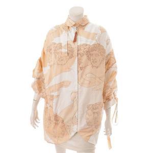 【ロエベ】Loewe オーバーサイズ シャツジャケット 総柄 ホワイト×サーモンピンク L 【中古】【正規品保証】116797|retrojp