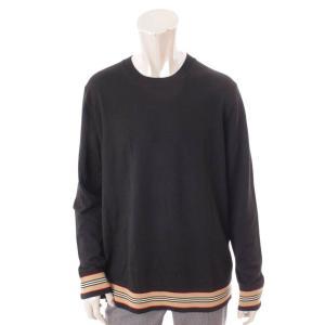【バーバリー ロンドン】Burberry London メンズ 裾ストライプ柄 ハイゲージ ニット セーター トップス 8009151 ブラック L 【中古】【正規品保証】118745|retrojp