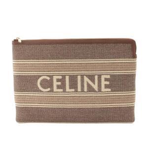 【セリーヌ】Celine ラージポーチ キャンバス ロゴ クラッチバッグ 10B802 グレージュ 【中古】【正規品保証】119122|retrojp