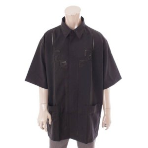 【フェンディ】Fendi メンズ 21SS ロゴ刺繍 半袖 ハーフスリーブ シャツ ブラック 43 未使用【中古】【正規品保証】119828 retrojp