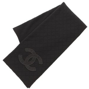 [プレミアム会員40%OFF]【シャネル】Chanel ココマーク ダイヤステッチ ウール マフラー 05A ブラック  【中古】【正規品保証】43834|retrojp
