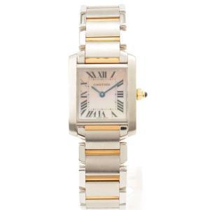 【カルティエ】Cartier タンクフランセーズSM シェル文字盤 腕時計 W51027Q4 シルバー ゴールド 電池交換済 【中古】【正規品保証】70213|retrojp