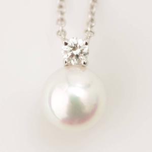 【ティファニー】Tiffany 750WG 1Pダイヤ パールネックレス ペンダント 【中古】【正規品保証】79868|retrojp