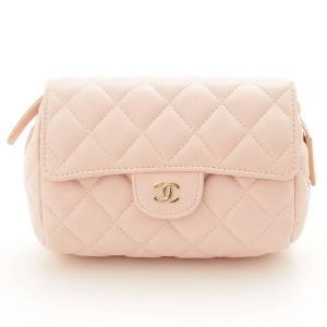 【シャネル】Chanel マトラッセ ミラー付き 化粧ポーチ 小物入れ ピンク 17番台 未使用【中古】【正規品保証】81426|retrojp