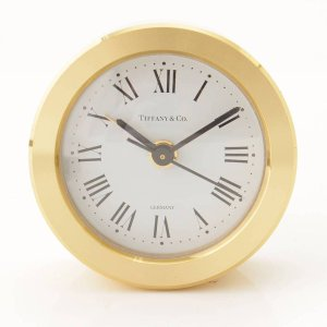 【ティファニー】Tiffany ラウンド トラベルクロック 置き時計 アラーム 目覚まし時計 ゴールド ホワイト 電池交換済 【中古】【正規品保証】81470|retrojp