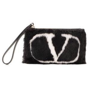 【ヴァレンティノ】Valentino ガラヴァーニ ロゴ ファー レザー クラッチバッグ ブラック 未使用【中古】【正規品保証】83949|retrojp