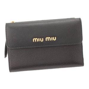 【ミュウミュウ】Miu Miu マドラス レザー 折財布  5Ml014 ブラック 【中古】【正規品保証】88852|retrojp