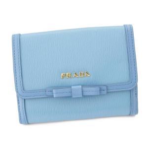 【プラダ】Prada レザー リボン付き 折財布 1MH523 ブルー 【中古】【正規品保証】89849|retrojp