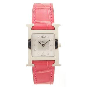 【エルメス】Hermes Hウォッチ 腕時計 HH1.210 ダイヤ 11P 0.04ct T刻 シルバー ピンク 【中古】【正規品保証】92306 retrojp