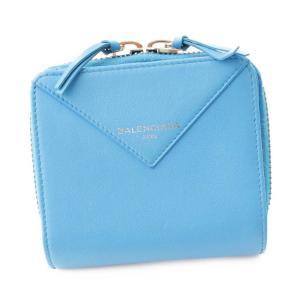 【バレンシアガ】Balenciaga ペーパー ビルフォード 二つ折り財布 ラウンドファスナー 371662 ブルー 【中古】【正規品保証】97223|retrojp