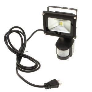 人感センサー付・防雨形LED投光器 (10Wタイプ) ACコード20cm+延長コード2m 【ボディーカラー:ブラック】|reudo