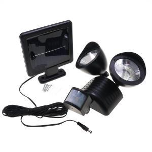 ソーラー充電・防雨形・人感センサーツインヘッドLEDライト|reudo
