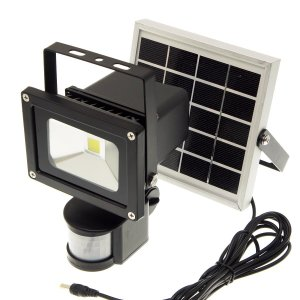 【ソーラー充電式・人感センサー搭載】LED投光器 10W(600ルーメン・昼光色6500K)