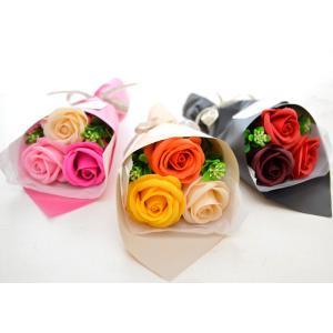 【ソープフラワー】3輪ブーケミニ 花束 プチ ギフト 誕生日 送料無料 フラワー お礼 感謝 アレンジ ありがとう 父の日