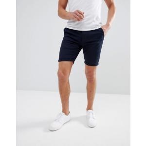 エイソス メンズ ハーフパンツ・ショーツ ボトムス ASOS Skinny Chino Shorts In Navy|revida