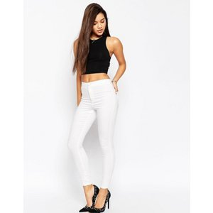 エイソス レディース カジュアルパンツ ボトムス ASOS DESIGN Rivington high waisted denim jeggings in white|revida