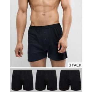 エイソス メンズ ボクサーパンツ アンダーウェア ASOS Jersey Boxers 3 Pack In Black SAVE|revida