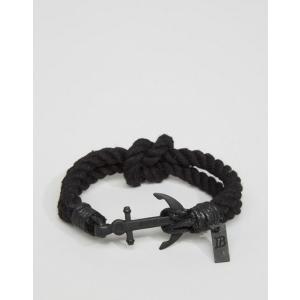 fc1ede181d45 アイコンブランド メンズ ブレスレット・バングル・アンクレット アクセサリー Icon Brand anchor woven bracelet in  black
