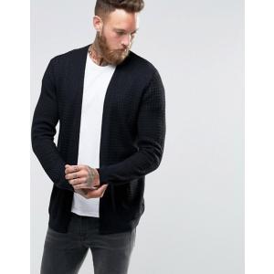 エイソス メンズ カーディガン アウター ASOS Lightweight Cable Cardigan In Black|revida