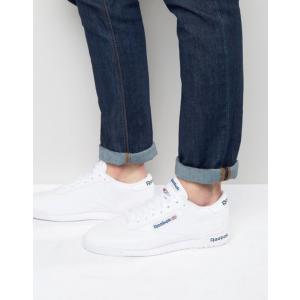 リーボック メンズ スニーカー シューズ Reebok Ex-O-Fit Leather Sneakers In White AR3169 revida