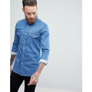 エイソス メンズ シャツ トップス ASOS Skinny Western Denim Shirt In Mid Wash|revida