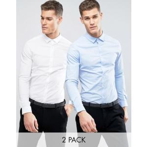 エイソス メンズ シャツ トップス ASOS Skinny Shirt 2 Pack In White And Blue SAVE revida