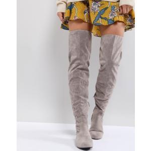 デイジーストリート レディース ブーツ・レインブーツ シューズ Daisy Street Lace Back Gray Over The Knee Boots|revida