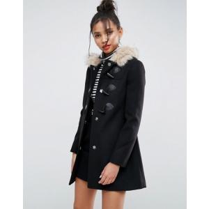 エイソス レディース コート アウター ASOS Duffle Coat with Faux Fur Hood|revida