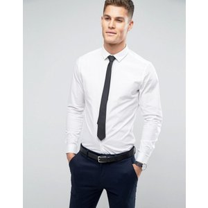 エイソス メンズ シャツ トップス ASOS Stretch Slim Shirt In White With Black Tie SAVE|revida