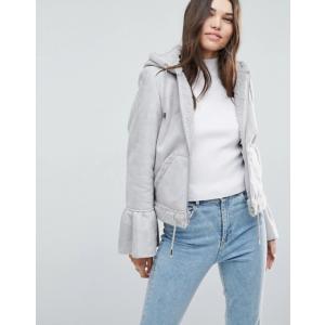 エイソス レディース ジャケット・ブルゾン アウター ASOS Cropped Jacket in Faux Leather with Flute Sleeve|revida