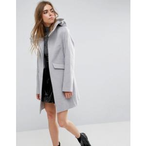 エイソス レディース コート アウター ASOS Hooded Slim Coat with Zip Front|revida