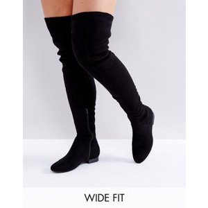 エイソス レディース ブーツ・レインブーツ シューズ ASOS KASBA Wide Fit Flat Over The Knee Boots revida