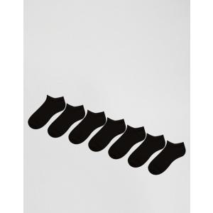 エイソス メンズ 靴下 アンダーウェア ASOS DESIGN 7 pack sneaker socks in black|revida