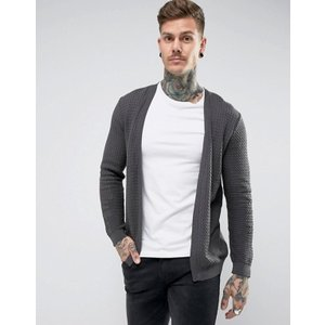 エイソス メンズ カーディガン アウター ASOS Lightweight Cable Cardigan In Charcoal|revida