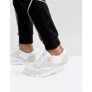 リーボック メンズ スニーカー シューズ Reebok Classic Leather Nylon Sneakers In White 6390 revida