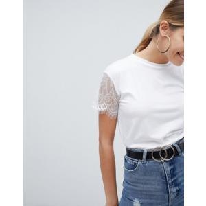 プリティリトルシング レディース Tシャツ トップス PrettyLittleThing Lace Sleeve T-Shirt revida