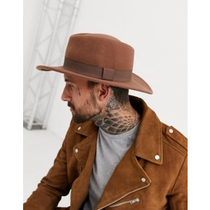 エイソス メンズ 帽子 アクセサリー ASOS Pork Pie Hat In Camel With Diamond Crown|revida