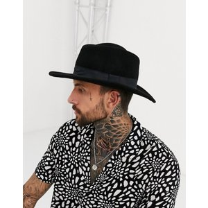 エイソス メンズ 帽子 アクセサリー ASOS Pork Pie Hat In Black With Diamond Crown|revida